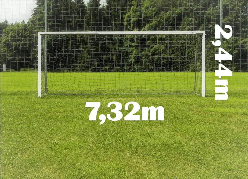 Fußballtor Maße. Ein fußballtor mit Beschriftung